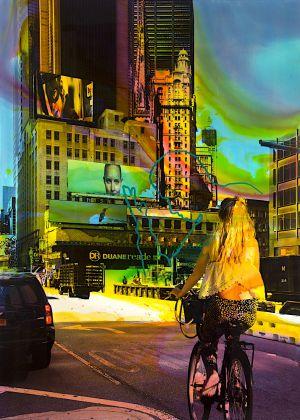 NY Reloaded B 20 (Alice), 2017, Malerei und Siebdruck auf Fotografie, 140 x 100 x 6 cm