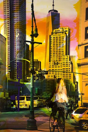 NY Reloaded (Alice) B 10, 2017, Malerei und Siebdruck auf Fotografie, 150 x 100 x 6 cm