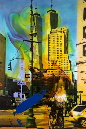NY Reloaded (Alice) B 17, 2017, Malerei und Siebdruck auf Fotografie, 150 x 100 x 6 cm