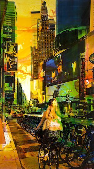 NY Reloaded (Alice) F 2, 2017, Malerei und Siebdruck auf Fotografie, 180 x 100 x 6 cm