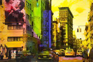 NY Reloaded B 1, 2016, Malerei und Siebdruck auf Fotografie, 100 x 150 x 6 cm