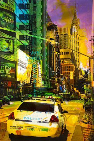 NY Reloaded B 13, 2017, Malerei und Siebdruck auf Fotografie, 150 x 100 x 6 cm