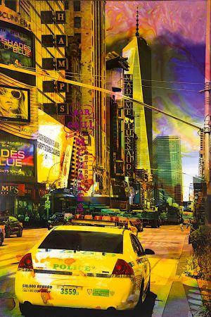 NY Reloaded B 18, 2018, Malerei und Siebdruck auf Fotografie, 150 x 100 x 6 cm