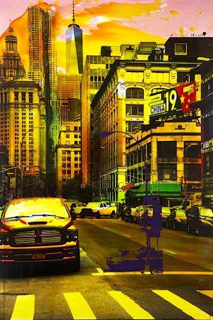 NY Reloaded B 8, 2017, Malerei und Siebdruck auf Fotografie, 150 x 100 x 6 cm