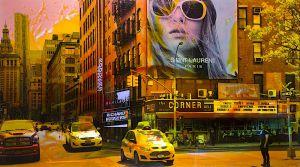 NY Reloaded C 7, 2018, Malerei und Siebdruck auf Fotografie, 100 x 180 x 6 cm