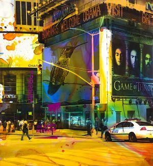 NY Reloaded D 5, 2018, Malerei und Siebdruck auf Fotografie, 100 x 92 x 5 cm