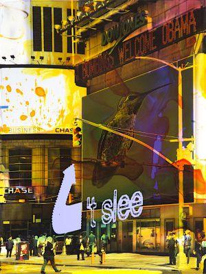 NY Reloaded E 22, 2018, Malerei und Siebdruck auf Fotografie, 40 x 30 x 5 cm