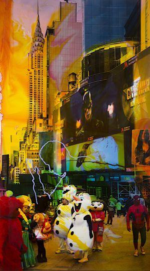 NY Reloaded F 5, 2018, Malerei und Siebdruck auf Fotografie, 180 x 100 x 6 cm