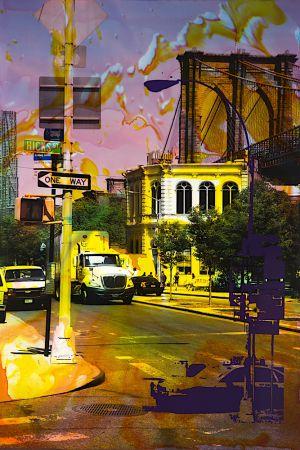 NY Reloaded (Front St. No. 1) D 3, 2016, Malerei und Siebdruck auf Fotografie, 90 x 60 x 5 cm