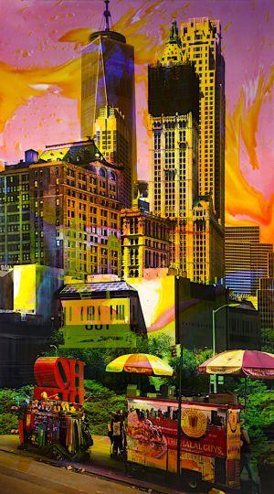 NY Reloaded G 1, 2017, Malerei und Siebdruck auf Fotografie, 180 x 100 x 6 cm