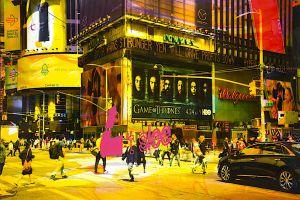 NY Reloaded (Games) B 2, 2016, Malerei und Siebdruck auf Fotografie, 100 x 150 x 6 cm