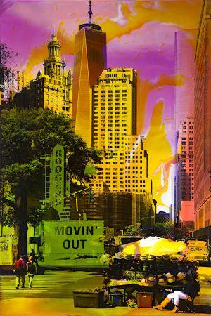NY Reloaded H 1, 2017, Malerei und Siebdruck auf Fotografie, 90 x 60 x 5 cm