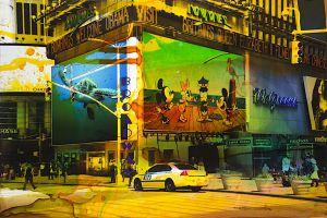 NY Reloaded H 3, 2018, Malerei und Siebdruck auf Fotografie, 60 x 90 x 5 cm