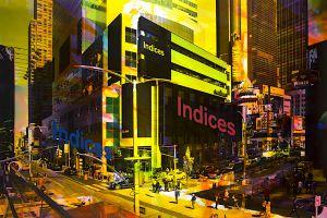 NY Reloaded (Indices) B 4, 2016, Malerei und Siebdruck auf Fotografie, 100 x 150 x 6 cm