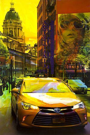 NY Reloaded (Yellow Cab) B 7, 2017, Malerei und Siebdruck auf Fotografie, 150 x 100 x 6 cm