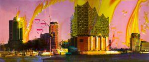 Hamburg A 2, 2016, Malerei und Siebdruck auf Fotografie, 100 x 240 x 6 cm