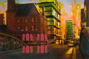 Hamburg A 5, 2016, Malerei und Siebdruck auf Fotografie, 60 x 90 x 6 cm