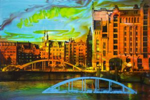 Hamburg A 7, 2017, Malerei und Siebdruck auf Fotografie, 60 x 90 x 6 cm